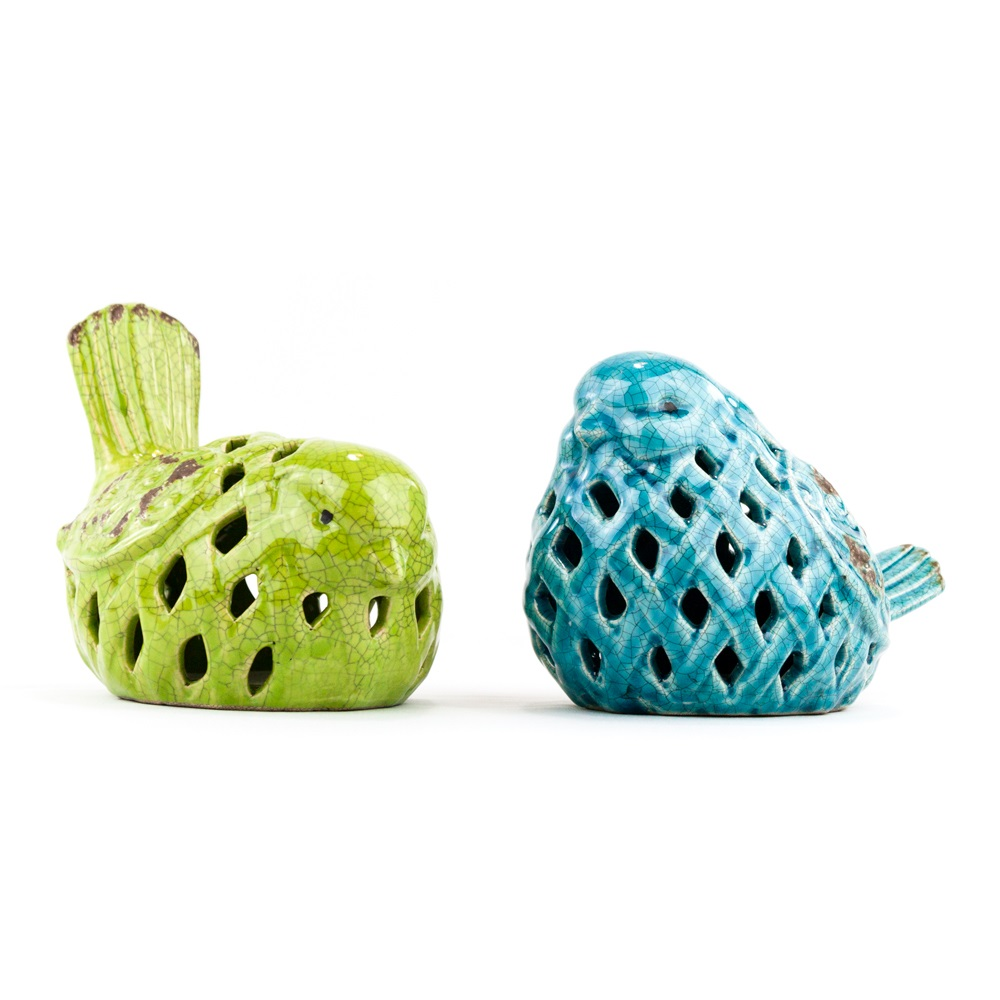Teal Green Ceramic Birds