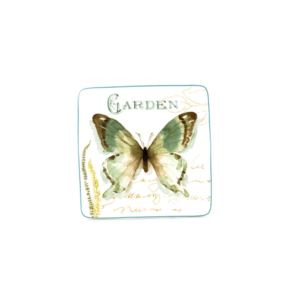 Green House Butterfly Salad Plates  sc 1 st  Platt Designs & Green House Butterfly Salad Plates: Blue and White Square Plate ...