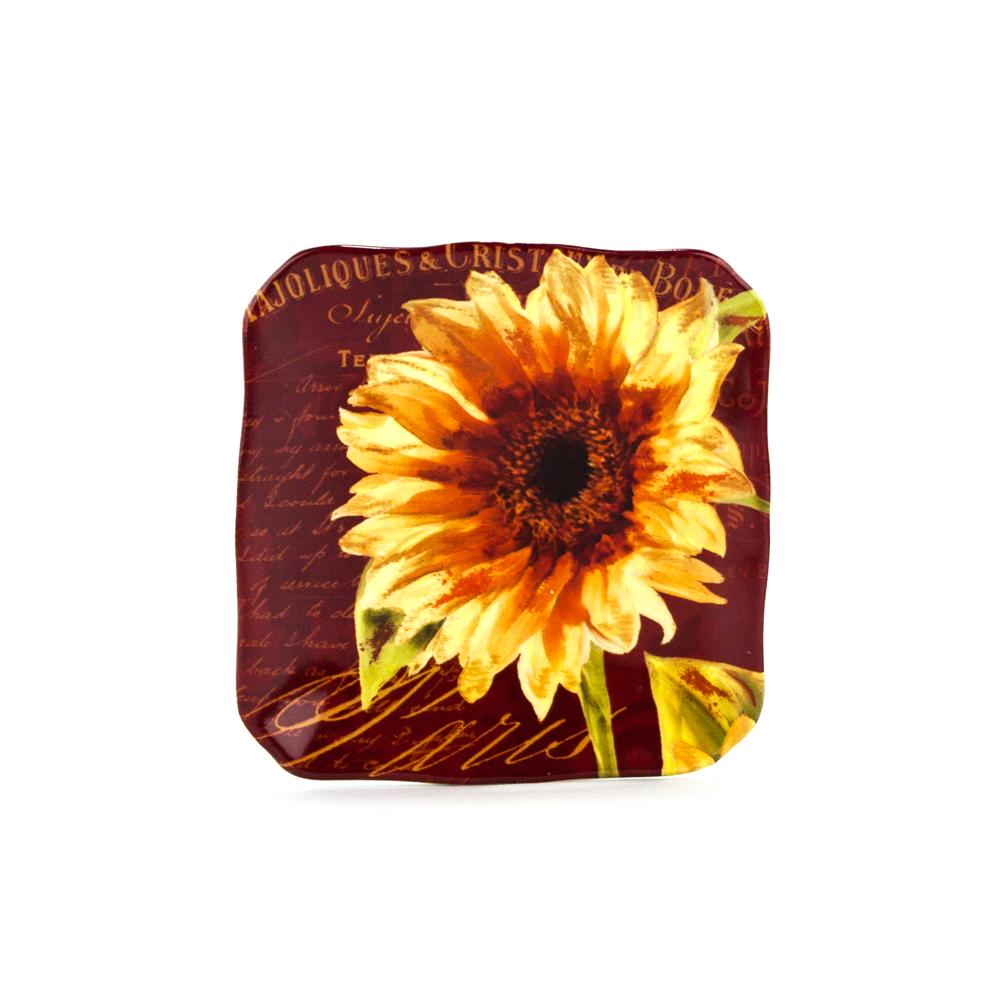Paris Sunflower Canape Plates: Decorative Floral Square Plate ...