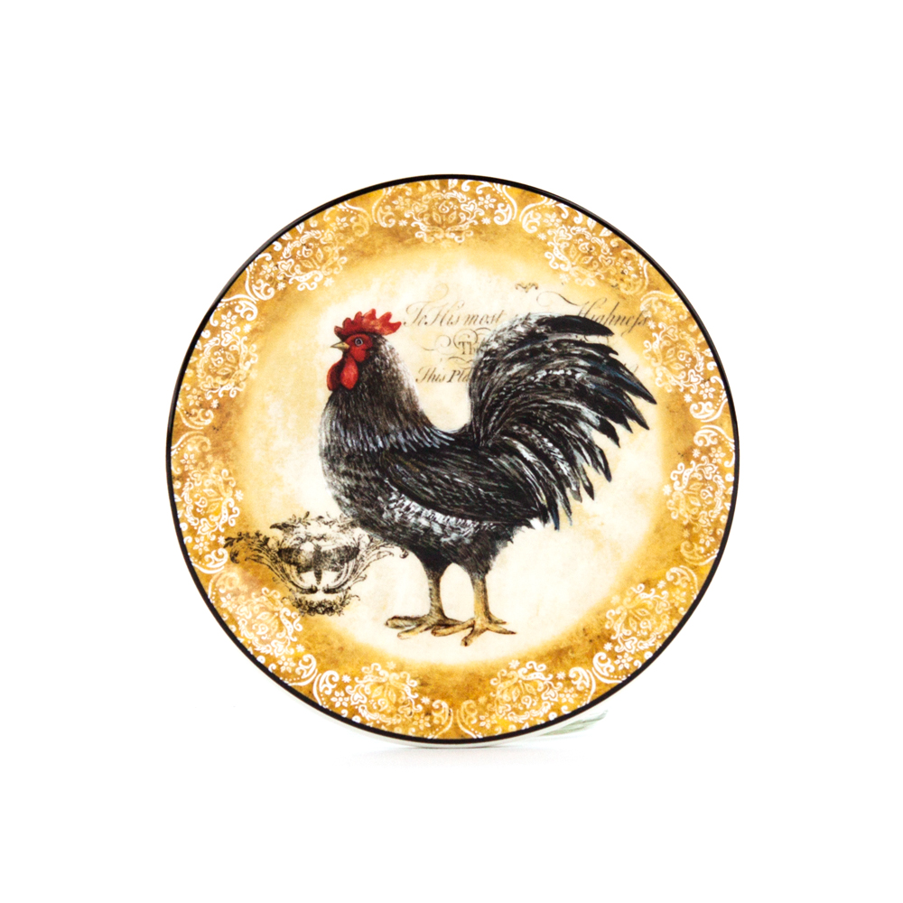 Rooster Canape Plates  sc 1 st  Platt Designs & Rooster Canape Plates: Decorative Round Appetizer Dinnerware Plate ...