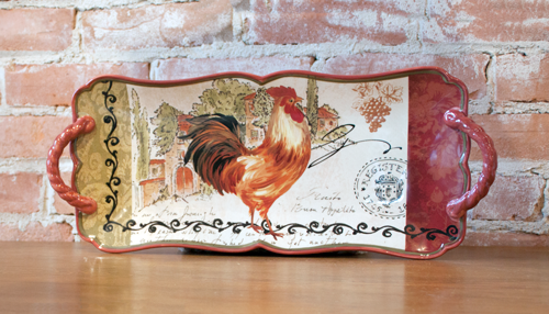 Tuscan Rooster Serving Tray: Ceramic Old World Tray with ...