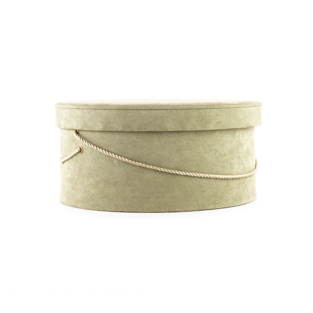 Green Suede Hat Box, Box, Boxes, Decorative Hat Box, Decorative Hat Boxes