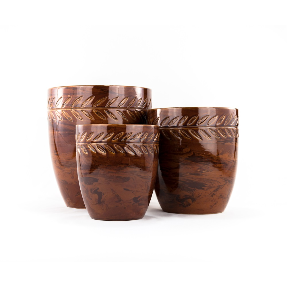 Glazed brown marbled pots decorative ceramic pottery urnsplatt glazed brown marbled pots reviewsmspy