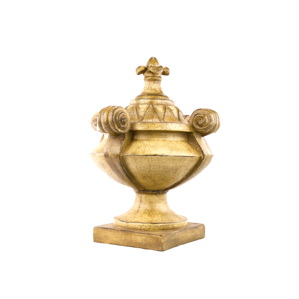 Finial lidded golden crackled urn large decorative urn platt finial lidded golden crackled urn reviewsmspy