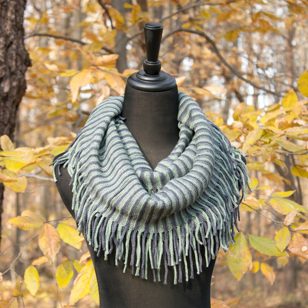 Blue & Teal Striped Scarf: Knit Infinity Scarf With Fringed ...