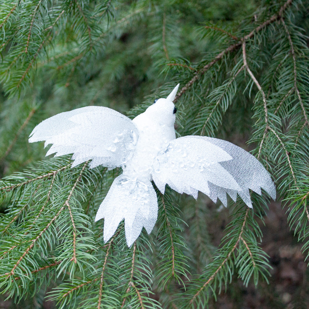 white frost wing bird - Bird Ornaments For Christmas Tree
