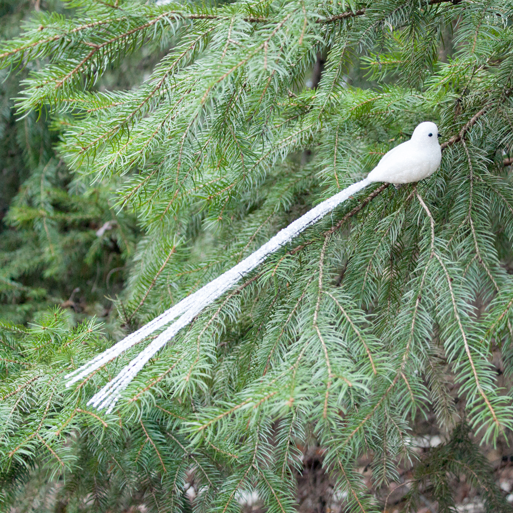 white long tail bird clip - Bird Christmas Tree Decorations