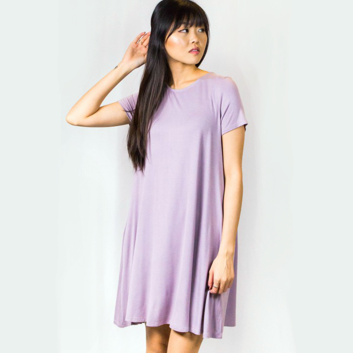 2b8b2f412bb3 Short Sleeve Bamboo T-Shirt Dress  Ladies Lavender   Mushroom ...