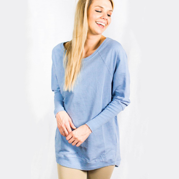 b97c87b065 Oversized Sweater Tunic Light Blue  Relaxed Fit Pullover HoodiePlatt ...