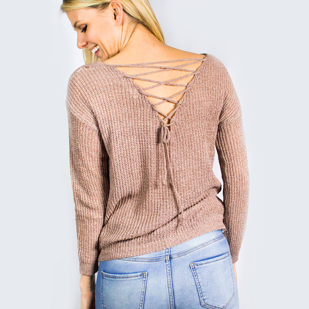 Lace Up Sweater  Ladies Knit Sweater With Back Lace Up and Front ... 0385bb587